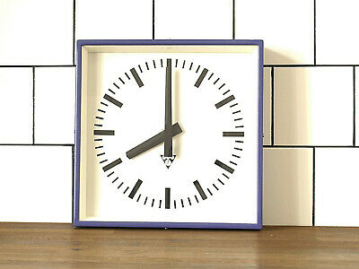 industrial vintage wall clock - PRAGOTRON metal square retro clock BLUISH PURPLE