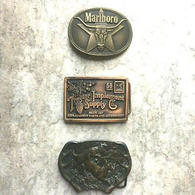 Lot of 3 Vintage Western Belt Buckles Marlboro TISCO Bergamot Solid Brass