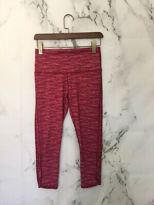 0ac9a23cd2c711 Aerie Womens Athletic Leggings Size M Pink Striped Cropped Side Slits