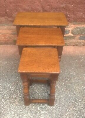 Solid Oak Vintage Nest Of Tables
