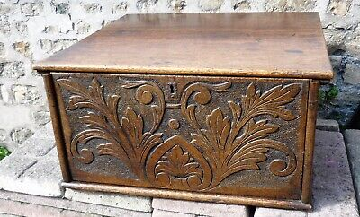Early 18th Century Carved Oak Work Box With Sliding Front Two Secret Drawers
