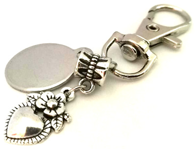 Engraved personalised little heart with rose keyring in gift pouch LT158