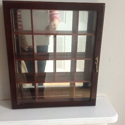 Wood Display Case With Glass Mirrored Back