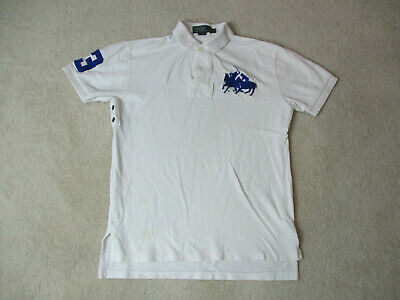 e90b2fbb Ralph Lauren Polo Shirt Adult Small White Blue Big Pony Rugby Casual Mens  90s *