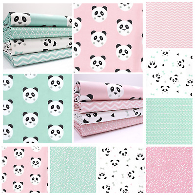 Panda - Cotton Fabric - Animals Bears Childrens Pink Metre ALSO JERSEY