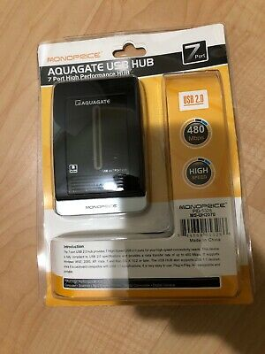 Monoprice Aquagate 7 Port Usb Hub High Performance 2.0 Brand New Sealed