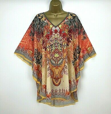 fd1211233c9d Tunic Kimono Kaftan Top Boho One Size UK 14 16 18 20 22 24 Arty Womens