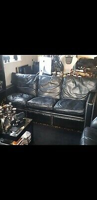 Original Vintage 70s Hand Made in Chelsea Black Leather Sofa
