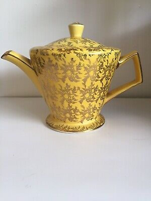 Antique Imperial Yellow Tea Pot English Pottery Art Deco Handle