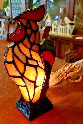 Vintage  Tiffany Style Glass Rooster/Chicken Light- 8'' High