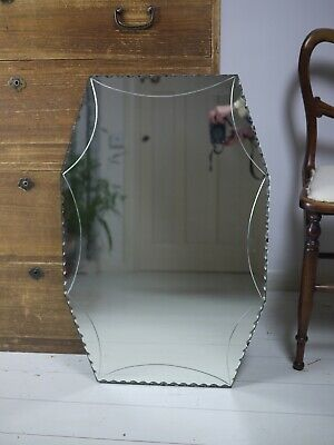 Extra Large Vintage Frameless Mirror Scallop Bevelled 30s Art Deco Mantle 72cm