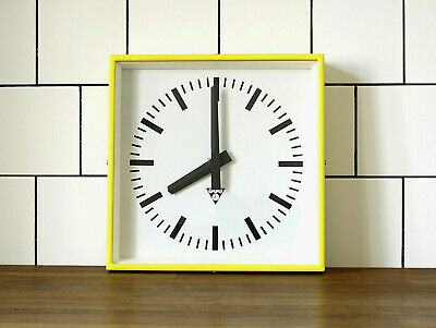 industrial vintage wall clock - PRAGOTRON - metal square retro clock - YELLOW