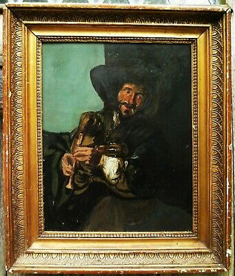 Antique oil oak panel bagpipes player Scottish Georgian 18th century Nice frame