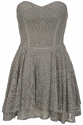 New Warehouse Grey Lace Corset Style Prom Skater Dress UK10 Party/Wedding/Event