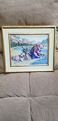 """Original oil painting signed By Fred Machetanz Mint1990 12x10 """"Search for Gold"""""""