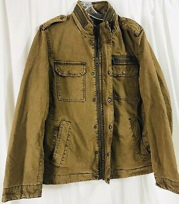 Levi's Men's Washed Cotton Two Pocket Military Jacket, Workers Brown, Medium