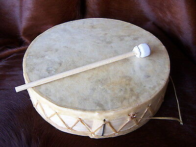 "Rawhide Drum 10"", CEREMONIAL, Dance, Drum circle,Shaman,ETHNIC,WITH BEATER,DECOR"