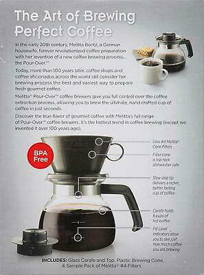 Melitta -  Pour-Over Coffee Maker w/Glass Carafe, Black - 10 CUP