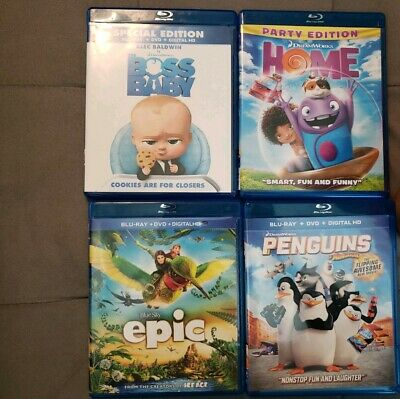 4 Blu-rays/Dvd package deal.  No digital Home, epic, the boss baby, penguins