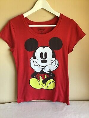 eb1d86f0 Womans Red Walt Disney Mickey Mouse Cotton Short Sleeve Graphic Tee Size  Large
