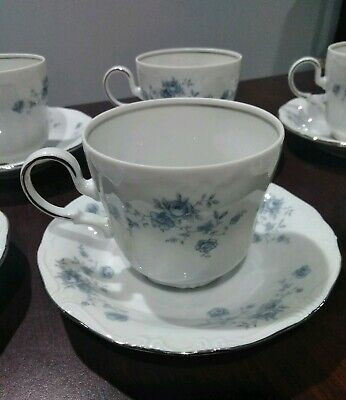Set of 6 Vintage Cups and Saucers by Johann Haviland Blue Garland BavariaGermany