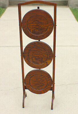 Mission Oak Stickley Roycroft Era Plate Stand Collapsible and Crafts Three Trier