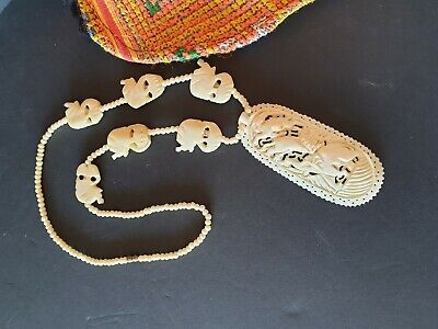 Old African Hand Carved Elephant Necklace …beautiful accent piece