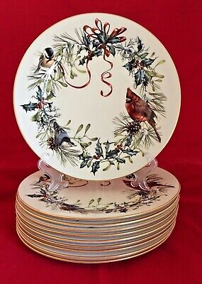 """(6) LENOX WINTER GREETINGS™Dinner Plates 10.75"""" EUC to NEAR MINT and QUICK SHIP"""