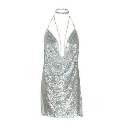 dd7549ac Sexy Kendall Jenner Backless Sequin Mini Plunge Dress / Slip with Chain  Choker
