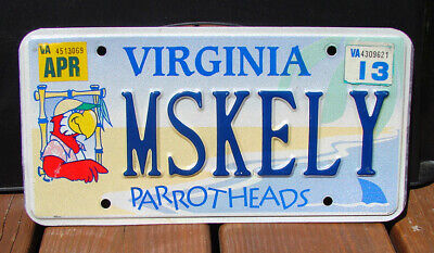 Virginia Parrotheads License Plate Parrot Jimmy Buffet #Mskely