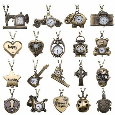 Estilo Retro Vintage Antiguo Steampunk Bronce Pocket Watches Cuarzo Collar