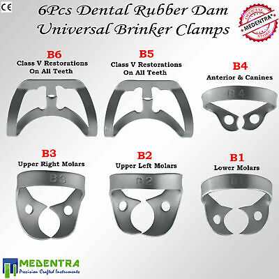 6PCS Rubber Dam Universal Brinkers Clamps Tissue Retractors Restorative Tools CE