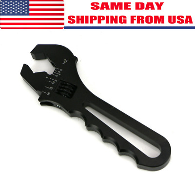 Adjustable Wrench Spanner Professional Grip 3AN-16AN Fittings Tool Black Aluminu