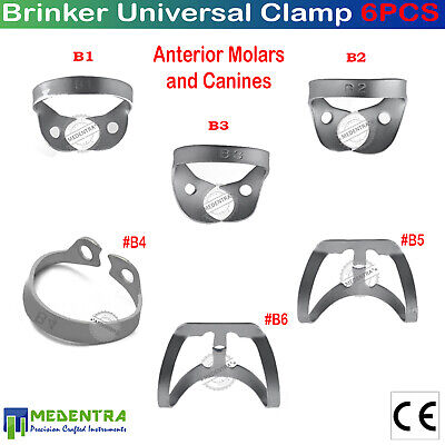 6Pcs Endodontic Rubber Dam Clamps Tissue Retractors Dentist Restorative Tools CE