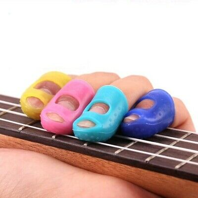 12pcs Silicone Celluloid Guitar Finger Guards Fingertip Thumb Picks Protector US