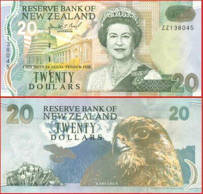 New Zealand Mint 1992 $20 Replacement ZZ Blue Back Brash Banknote issue p179aR