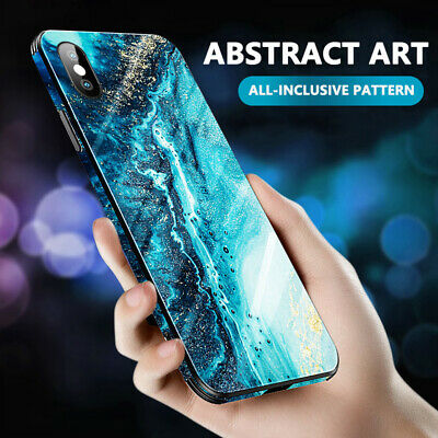 Full Cover Tempered Glass Case Abstract Marble Cover For iPhone XS Max XR X 8 7
