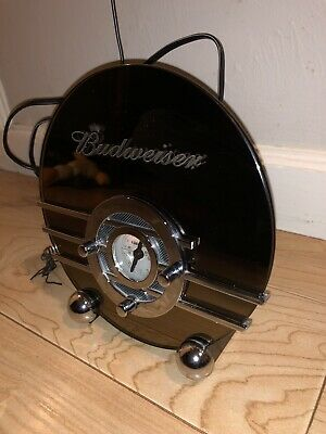 Budweiser Crosley Art Deco Smoke Glass Radio Rare Collectors Edition Cr 81