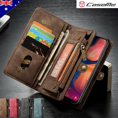 For Samsung S10 5G A20 A30 A50 Removable Zipper Leather Flip Wallet Case Cover