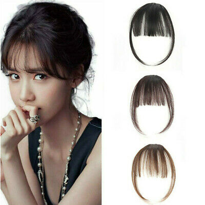 Thin Neat Remy Human Hair Air Bangs Extensions Clip in on Fringe Front Hairpiece