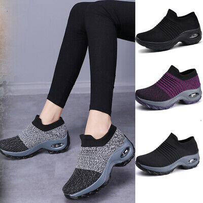 Womens Trainers Air Cushion Slip On Breathable Sneakers Sport Running Shoes