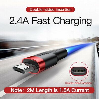 Baseus 2.4A 1M 2M Double Sided Reversible Micro USB Data Sync Charger Cable Cord