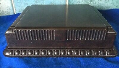 Antique Art Deco Brown Bakelite Geometric Box - Cigarettes Playing Card Trinket