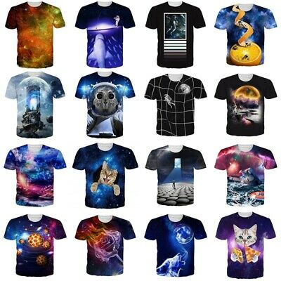 Galaxy Space Nebula Women Mens 3D Printed T-Shirt Short Sleeve Graphic Tee Tops