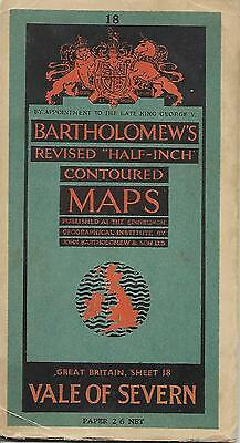 Vintage Bartholomew's Vale Of Severn Great Britain Sheet 18 Paper Map