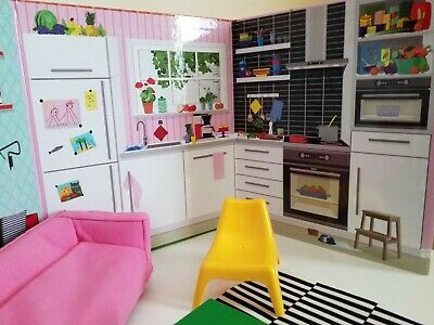 IKea Fold Out Dollhouse Book With Ikea FURNITURE Suit Barbie, Monster High Doll.