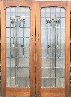 Vintage Art Deco Solid Timber French Doors with Leadlight, Full Height Insert
