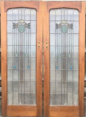 Vintage Art Deco Solid Timber French Doors with Leadlight
