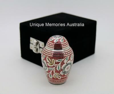 """3"""" Red & Etched Multicolour Flower Cremation Memorial Keepsake Cinerary Ash Urn"""