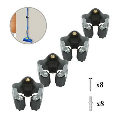 4 x Wall Mounted Brush Handle Clips, Storage Solutions for Brooms, Mops & Tools